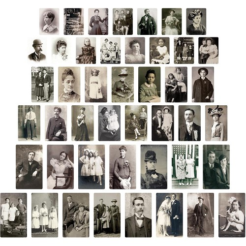 52168 Tim Holtz Idea-Ology Found Relative Vintage Portraits 45/Pkg (TH93798).