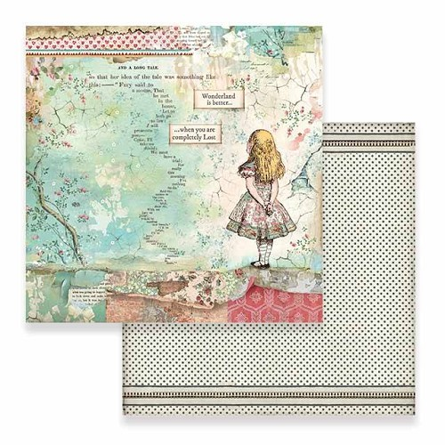 52201 Stamperia Alice 12x12 Inch Paper Sheet (SBB582).