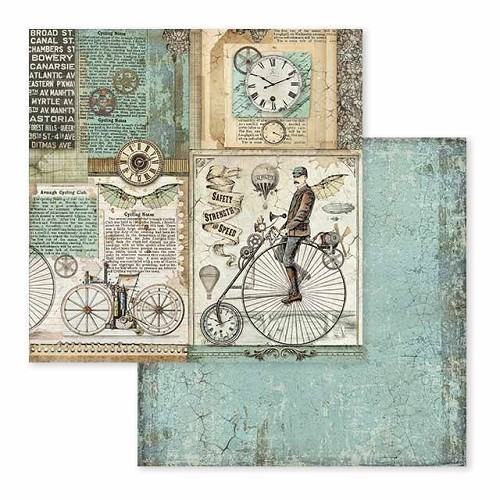 52204 Stamperia Voyages Fantastiques Retro Bicycle 12x12 Inch Paper Sheet (SBB602).