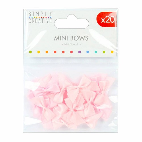 52233 Simply Creative Mini Bows Pink (20pcs) (SCRBN003).