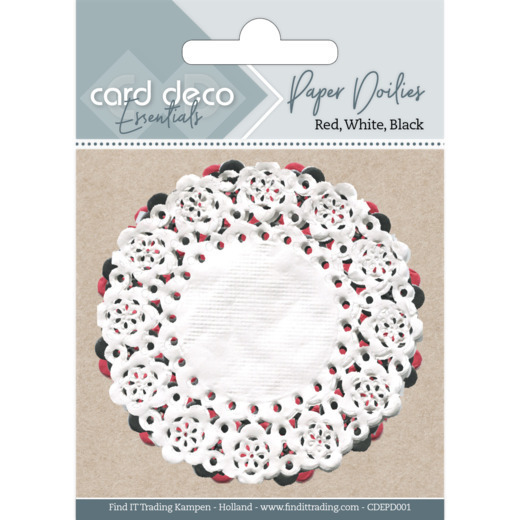 52344 Card Deco Essentials - Paper Doilies Red, White, Black ca 30 Stuks (CDEPD001).
