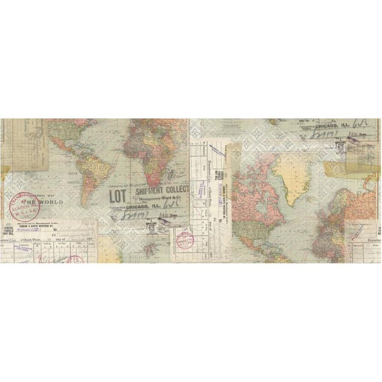 "52489 Tim Holtz Idea-Ology Collage Paper 6""X6yds Travel (TH93950)."