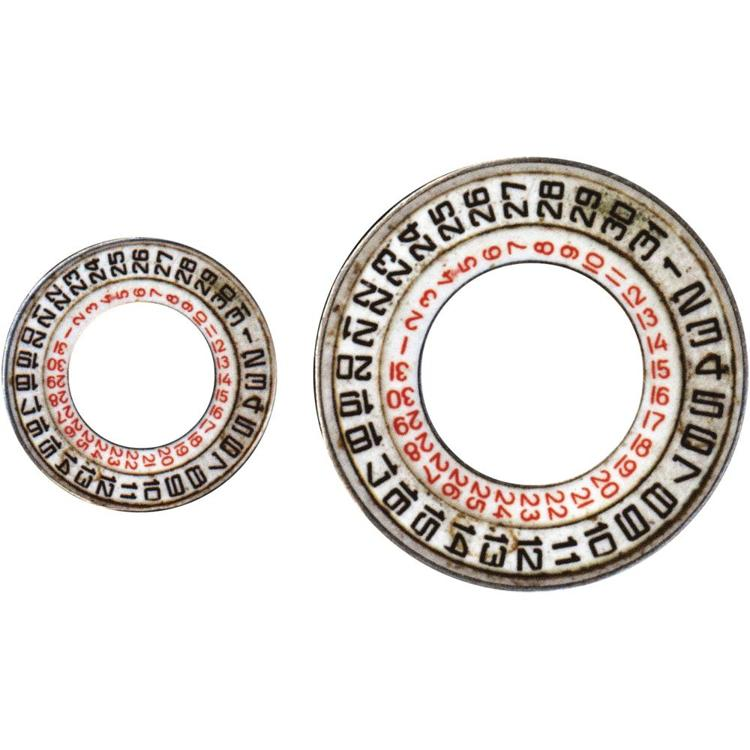 "52597 Tim Holtz Idea-Ology Metal Date Dials"" (TH93953)."