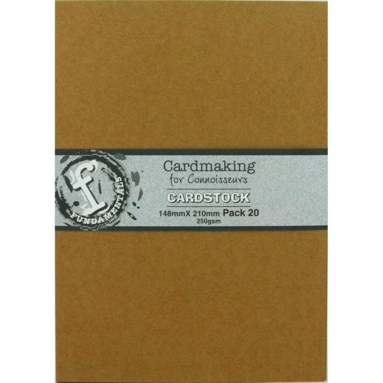 52607 Fundamentals Cardmaking Unscored Cardstock A5 - 20/Pk Kraft 250 Grams.