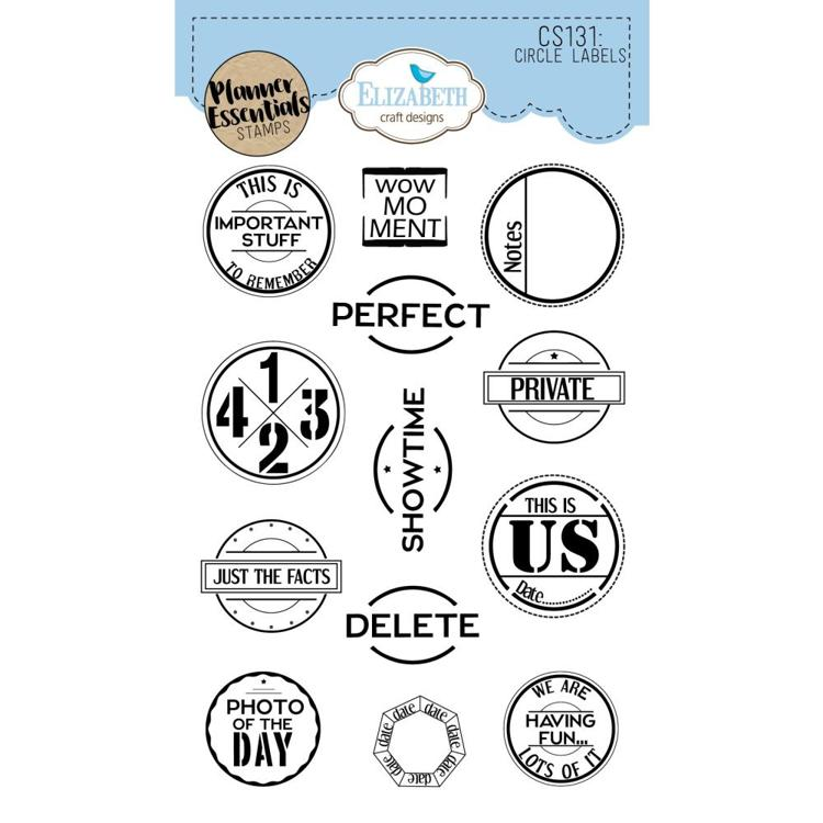 52738 Elisabeth Craft Clear Stamps Circle Labels (CS131).