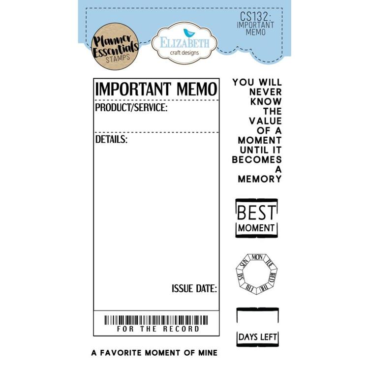 52739 Elisabeth Craft Clear Stamps Important Memo (CS132).