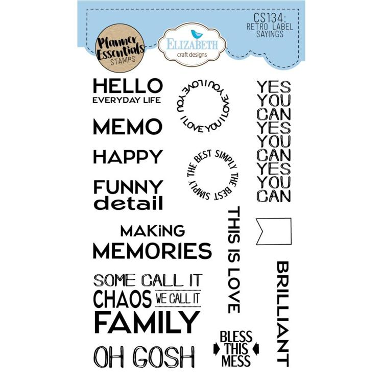 52741 Elisabeth Craft Clear Stamps Retro Label Sayings (CS134).