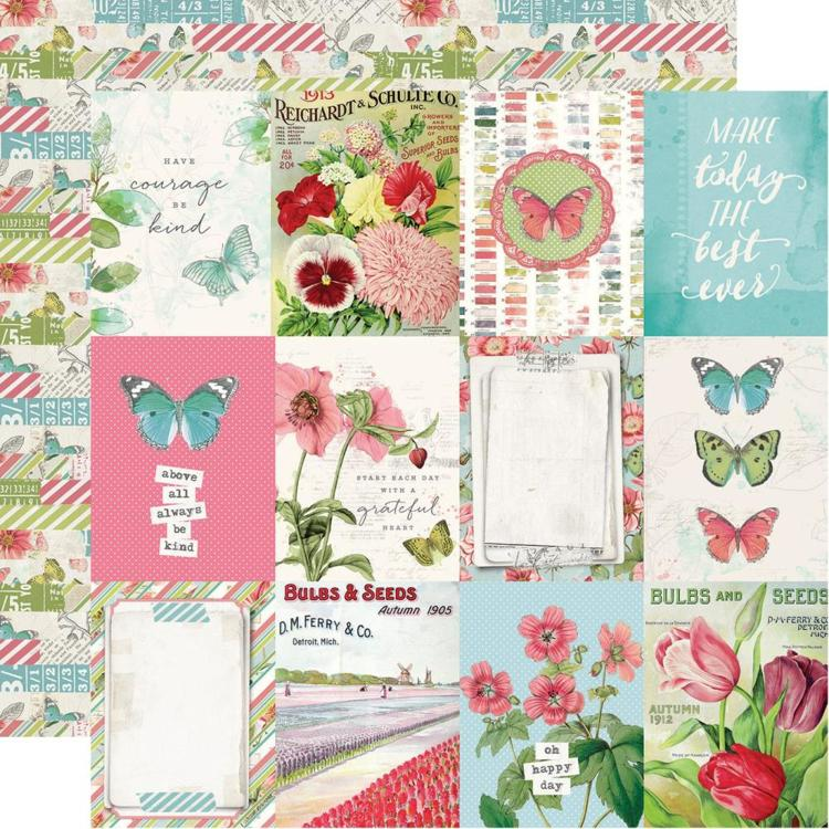 "52816 Simple Vintage Botanicals Double-Sided Cardstock 12""X12""- 3""X4"" Elements."