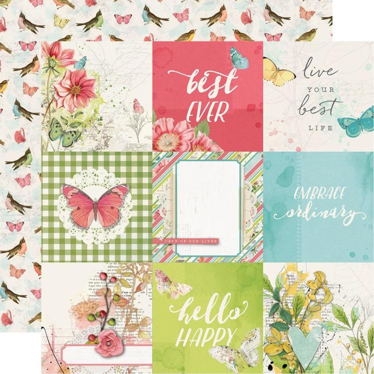 "52818 Simple Vintage Botanicals Double-Sided Cardstock 12""X12""- 4""X6"" Elements."