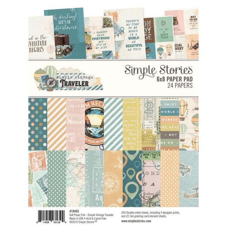 "52867 Simple Stories Double-Sided Paper Pad 6""X8"" 24/Pkg Simple Vintage Traveler, 8 Designs."