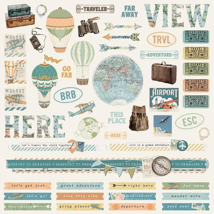 "52868 Simple Vintage Traveler Cardstock Stickers 12""X12"" Combo."