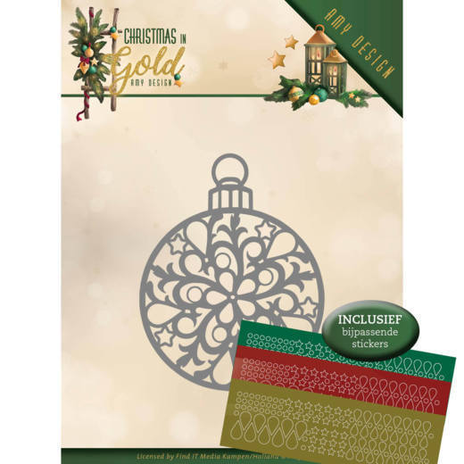 52977 Dies - Amy Design - Christmas in Gold - Christmas Bauble + Hobbydots (ADD10183).