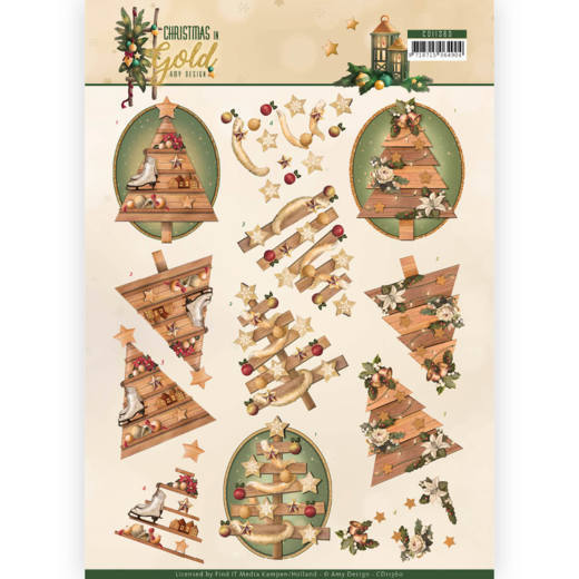 52985 (1052) 3D Knipvel - Amy Design - Christmas in Gold - Trees in Gold (CD11360).