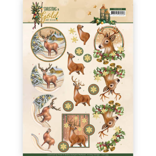 52986 (921) 3D Knipvel - Amy Design - Christmas in Gold - Deers in Gold (CD11359).
