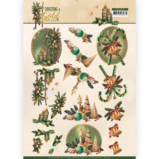 52988 3D Knipvel - Amy Design - Christmas in Gold -Lanterns in Gold (CD11357).