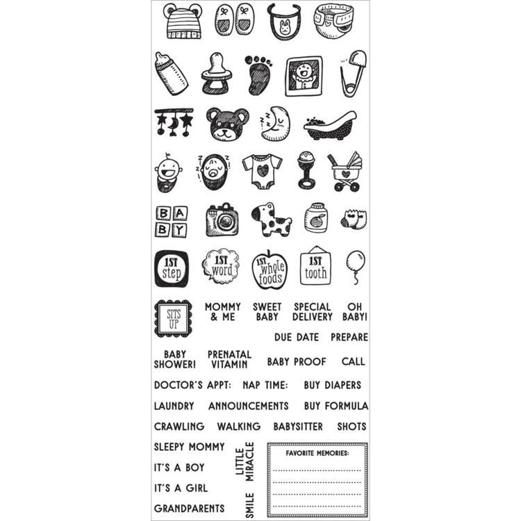 53137 Prima My Prima Planner Clear Stamps Baby Mini Icons & Words (591588).