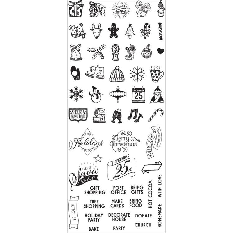 53138 Prima My Prima Planner Clear Stamps Christmas Mini Icons & Words (591595).