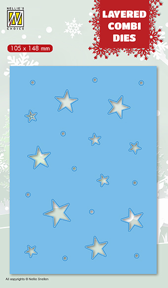53147 Nellie Snellen Layered combi Dies Christmas stars (Layer C) (LCDCS003).