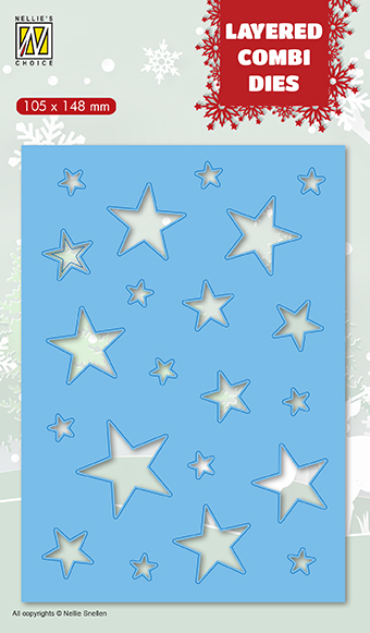 53148 Nellie Snellen Layered combi Dies Christmas stars (Layer B) (LCDCS002).