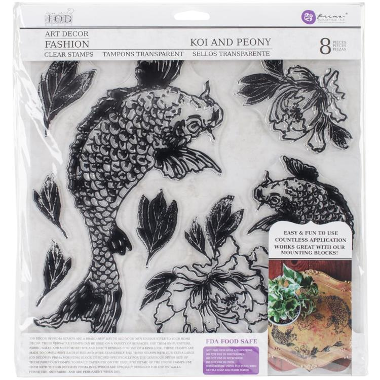 "53161 Prima Iron Orchid Designs Decor Clear Stamps 12""X12"" Koi And Peony (816018)."
