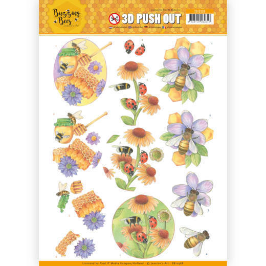 53187 3D Pushout - Jeanines Art - Buzzing Bees - Sweet Bees (SB10368).