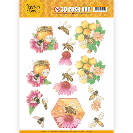 53188 3D Pushout - Jeanines Art - Buzzing Bees - Honey Bees (SB10367).