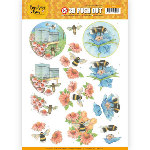 53189 3D Pushout - Jeanines Art - Buzzing Bees - Buzzing Bees (SB10366).