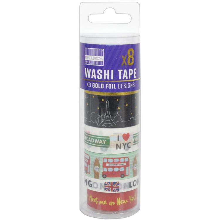 53260 First Edition Washi Tape 10m Rolls 8/Pkg Big Cities.