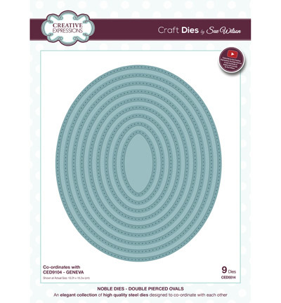 53294 Superkoopje Creative Expressions Double Pierced Ovals 9pcs / 19.2 x 16.2cm (CED5514).
