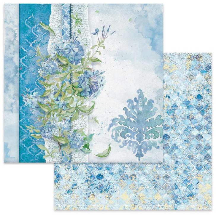 53340 Stamperia Flowers For You Light Blue Background 12x12 Inch (SBB646).