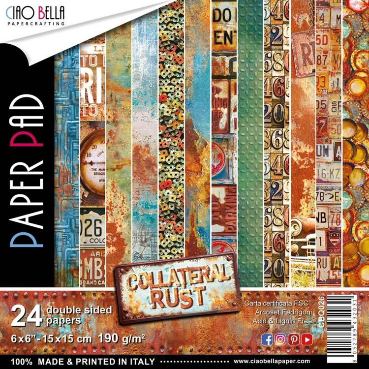 "53394 Ciao Bella Double-Sided Paper Pack 90lb 6""X6"" 24/Pkg Collateral Rust, 12 Designs/2 Each."