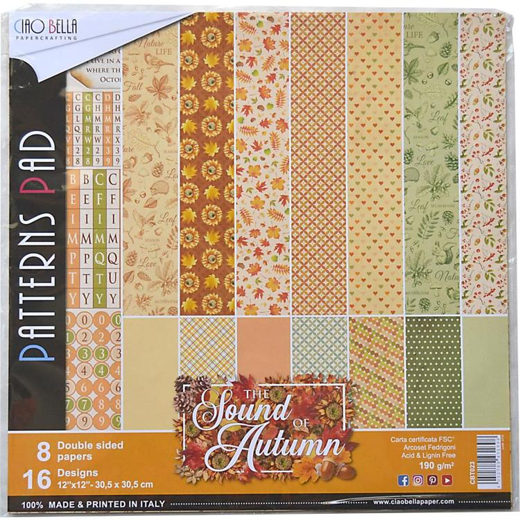 "53397 Ciao Bella Double-Sided Paper Pack 90lb 12""X12"" 8/Pkg Sound Of Autumn, 8 Designs/1 Each."