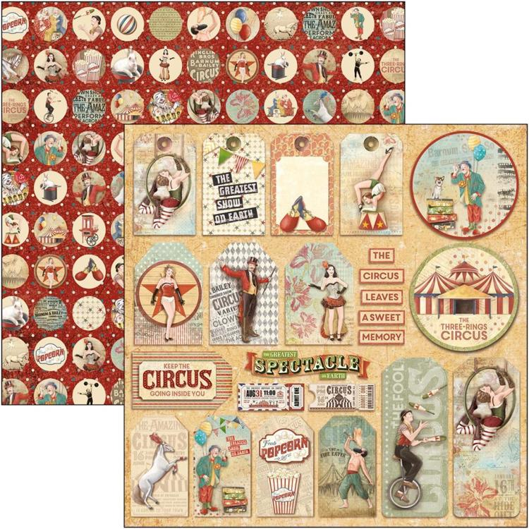 "53494 Ciao Bella Double-Sided Cardstock 90lb 12""X12"" Circus Tags, The Greatest Show (CBSS089)."