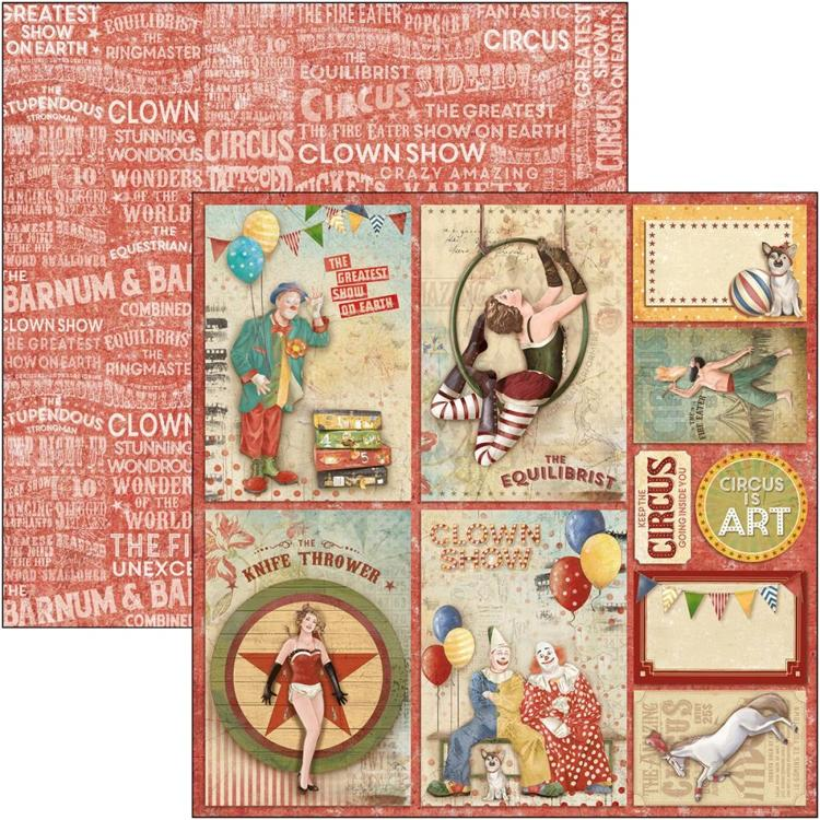 "53495 Ciao Bella Double-Sided Cardstock 90lb 12""X12"" Circus Cards, The Greatest Show (CBSS088)."