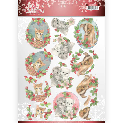 53604 3D Knipvel - Jeanine's Art - Lovely Christmas - Lovely Christmas Pets (CD11375).