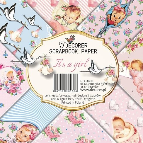 53613 Decorer It's a Girl 6x6 Inch Paper Pack (DECOR-C27-230).