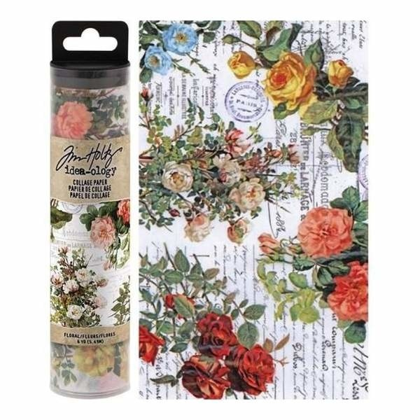 53622 Idea-ology Tim Holtz Collage Paper Floral (6yards) (TH93707).