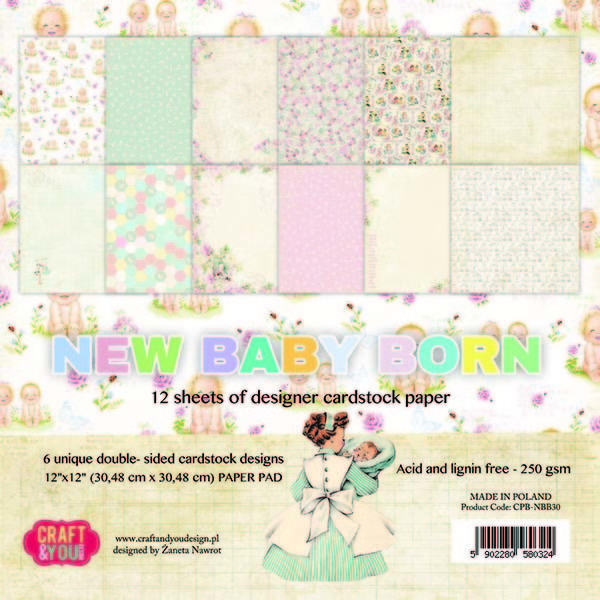 53814 Craft and You Design New Baby Born Big Paper Pad 12x12.