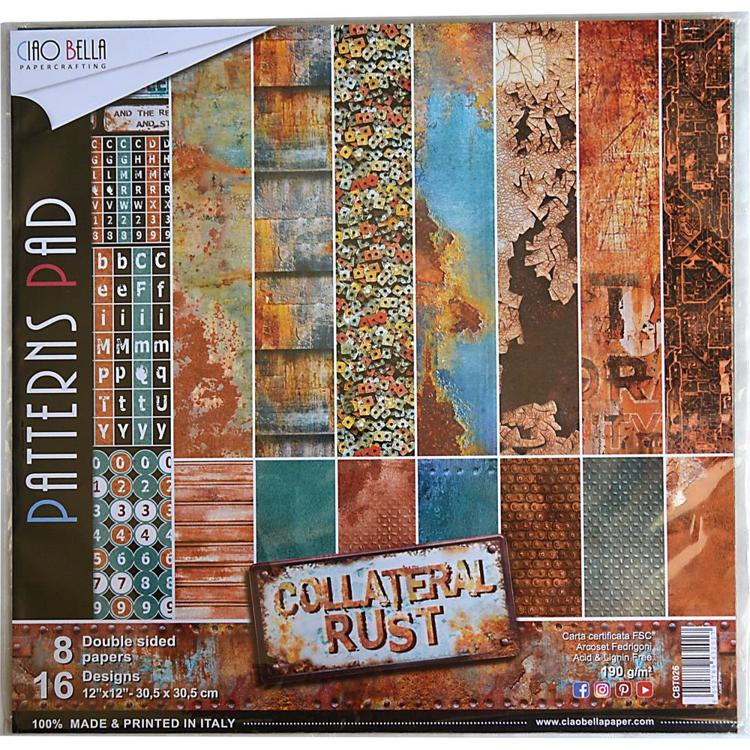 "53815 Ciao Bella Double-Sided Paper Pack 90lb 12""X12"" 8/Pkg Collateral Rust, 8 Designs/1 Each."