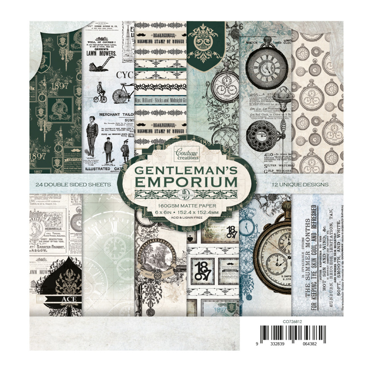 53889 Couture Creations Gentleman's Emporium 6x6 Inch Paper Pack (CO726812).