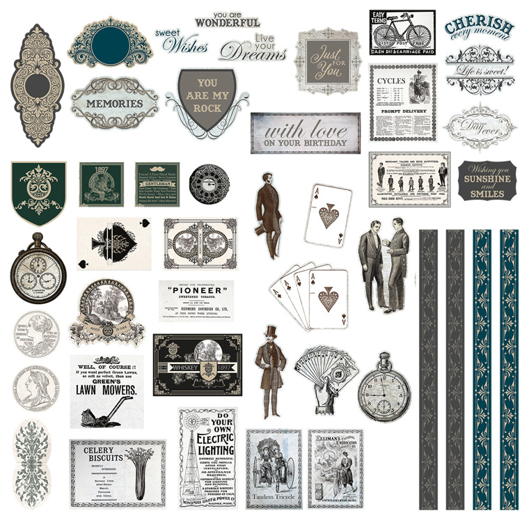 53890 Couture Creations Gentleman's Emporium Diecut Ephemera Set (CO726826).