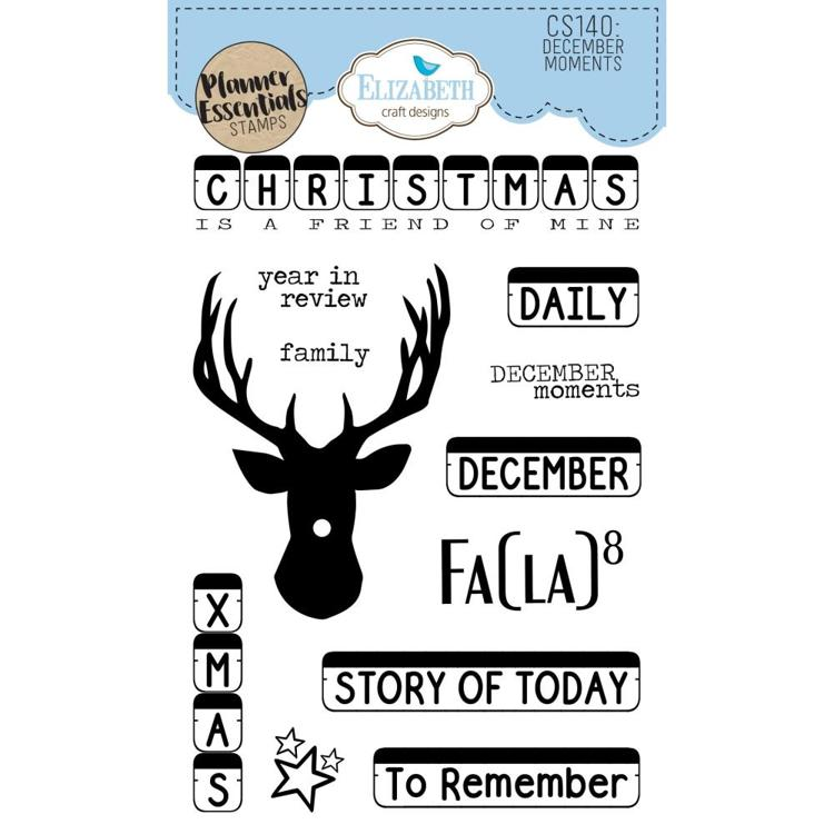 54068 Elizabeth Craft Clear Stamps December Moments (CS140).