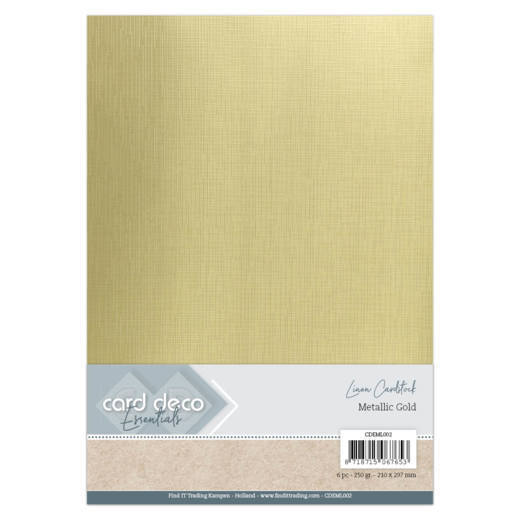 54088 Card Deco Essentials - Metallic Linnenkarton - Metallic Gold A4 6 Vel (CDEML002).