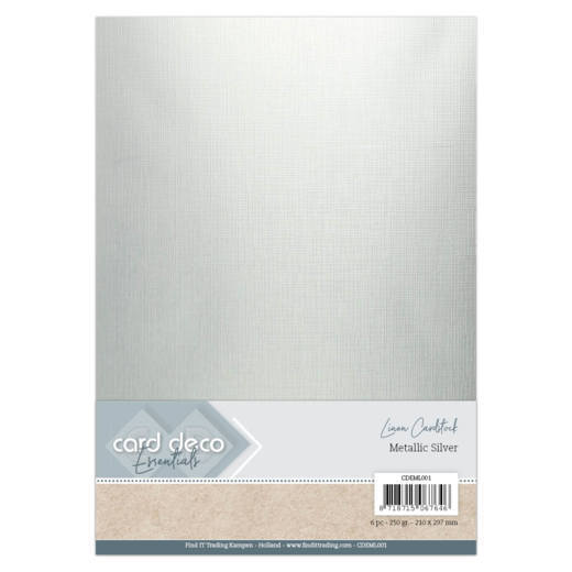 54089 Card Deco Essentials - Metallic Linnenkarton - Metallic Silver A4 6 Vel (CDEML001).