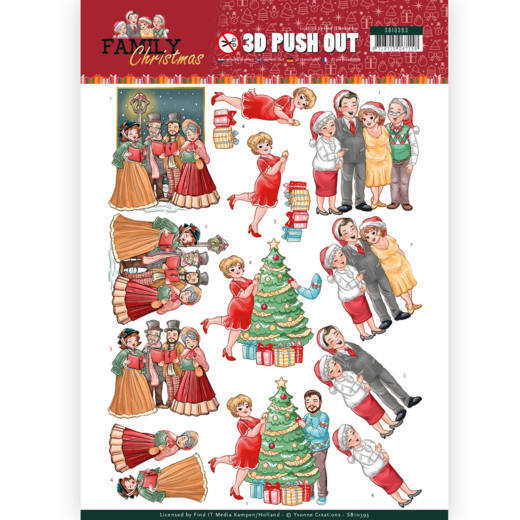 54095 3D Pushout - Yvonne Creations - Family Christmas - Celebrate Christmas (SB10393).