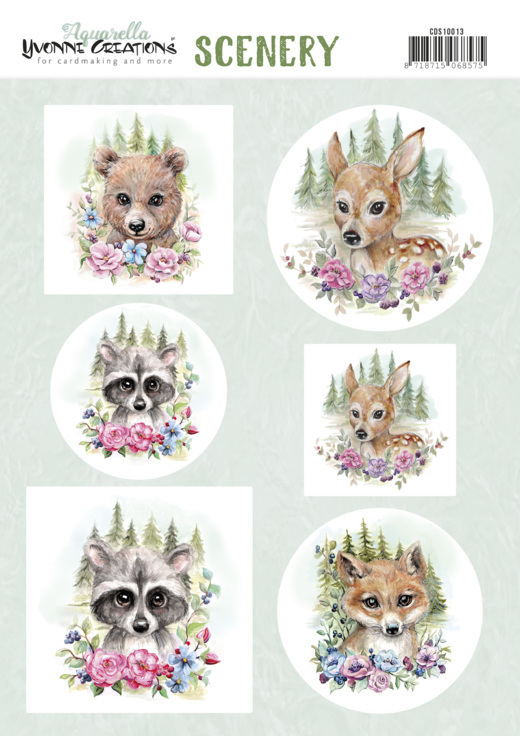54160 Scenery - Yvonne Creations Aquarella - forest animals (CDS10013).