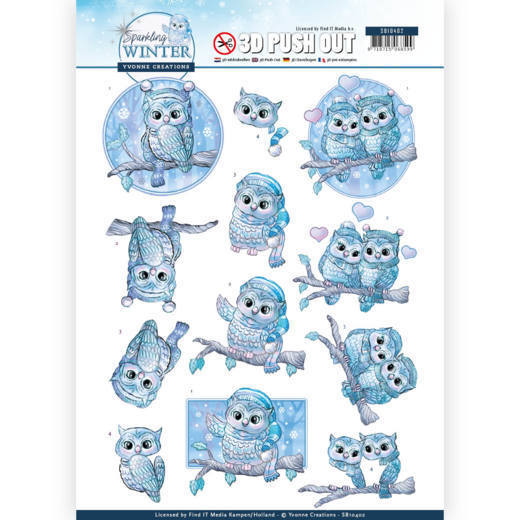 54278 3D Pushout - Yvonne Creations - Sparkling Winter - Winter Owls (SB10402).