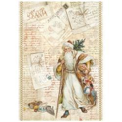 54360 Stamperia Rice Paper Sheet A4 Santa Claus (DFSA4199).