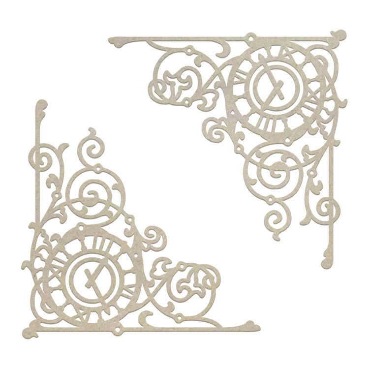 54402 Couture Creations Ticking Corner Chipboard Set 10,5x10,5 cm (CO726870).