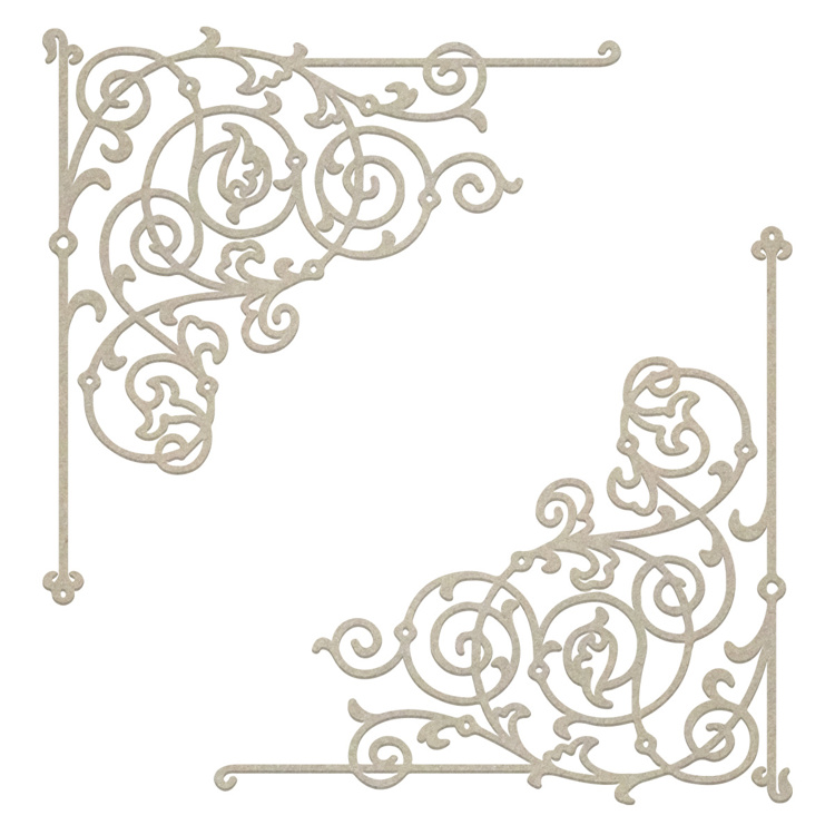 54403 Couture Creations Filigree Corner Chipboard Set 7x7 cm (CO726866).